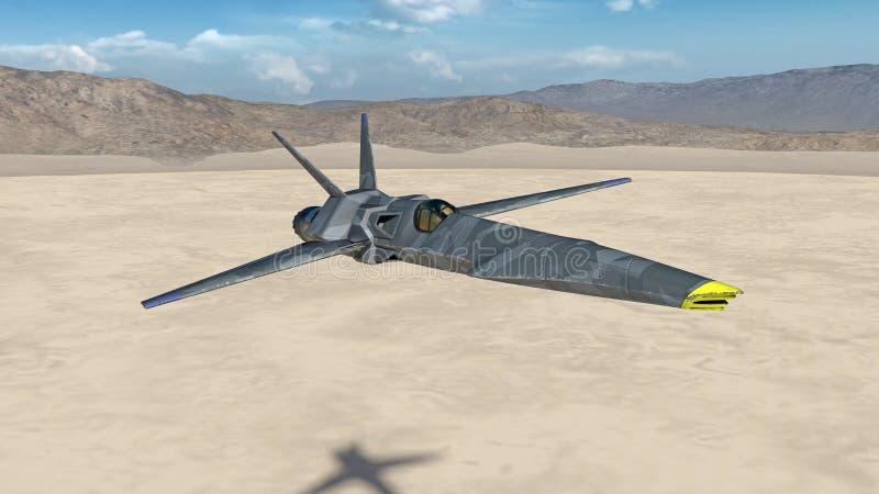L'aereo da caccia, æreo militare futuristico che sorvola un deserto con le montagne nei precedenti, fine su, 3D rende royalty illustrazione gratis