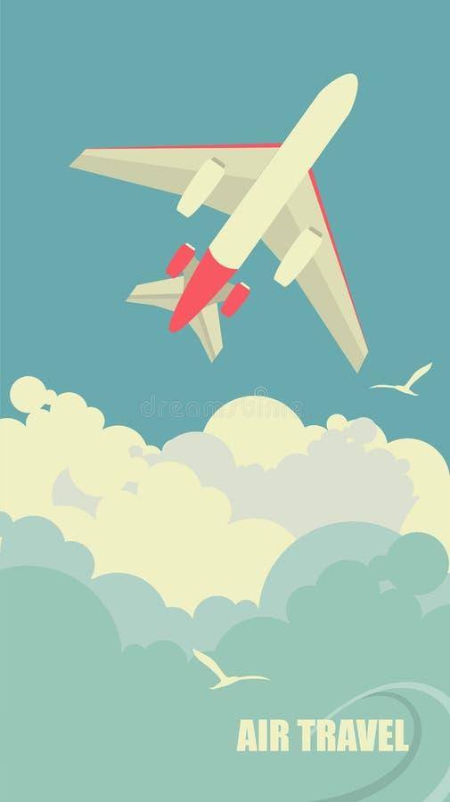 L'aereo vola contro il cielo illustrazione di stock