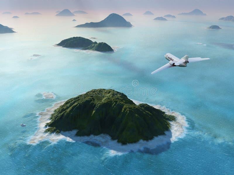 L'aereo vola sopra un mare royalty illustrazione gratis