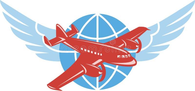 L'aeroplano dell'elica traversa il globo volando retro illustrazione di stock