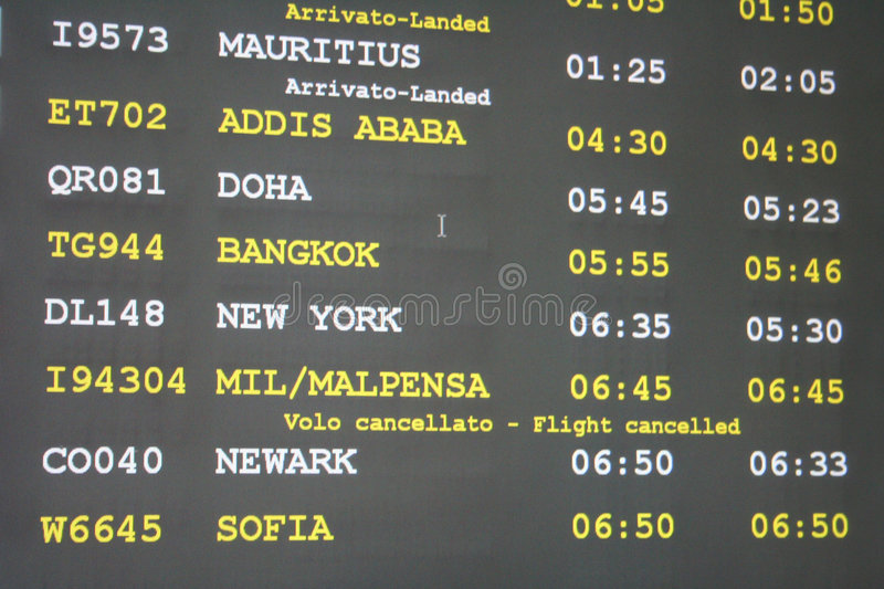 L'aeroporto arriva scheda fotografia stock