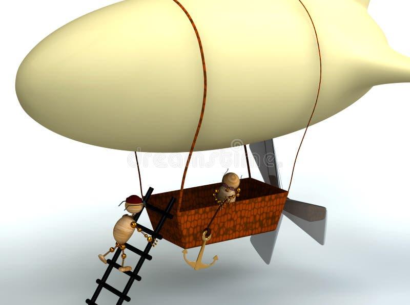 l'aerostato di dirigible 3d con legno equipaggia royalty illustrazione gratis