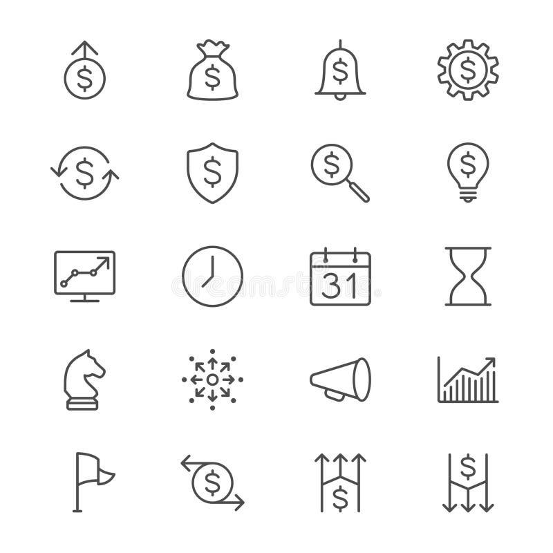 L'affare assottiglia le icone illustrazione di stock