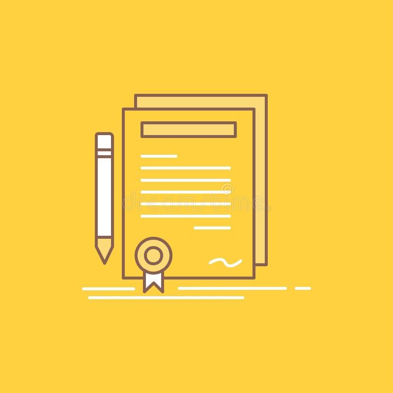 L'affare, certificato, contratto, grado, linea piana del documento ha riempito l'icona Bello bottone di logo sopra fondo giallo p illustrazione di stock
