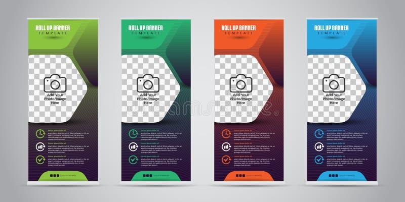 L'affare differente di colore 4 rotola su Progettazione della persona in piedi modello dell'insegna Presentazione ed opuscolo Ill illustrazione di stock