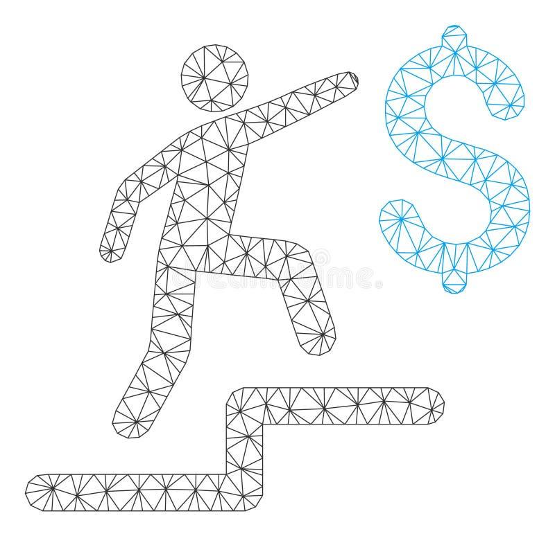 L'affare fa un passo vettore poligonale Mesh Illustration della struttura illustrazione di stock