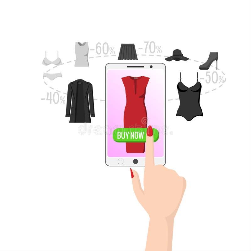 L'affare facile e rapido su Internet, una donna con un bello manicure compra un vestito da parte a parte illustrazione vettoriale