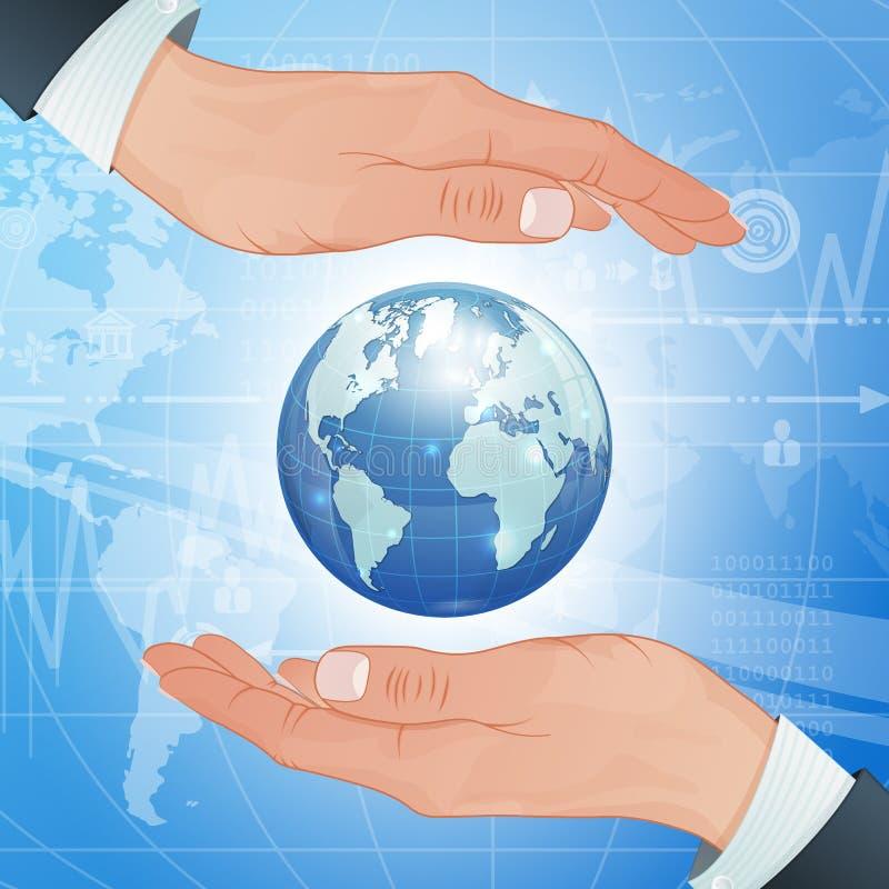 L'affare globale e l'ambiente proteggono illustrazione vettoriale