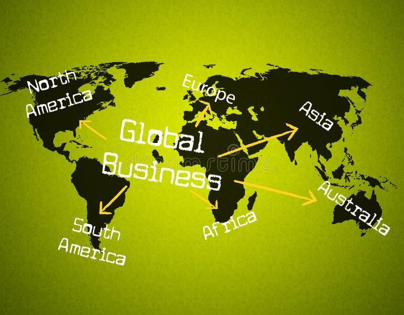 L'affare globale rappresenta globalizza l'annuncio pubblicitario e la globalizzazione illustrazione vettoriale