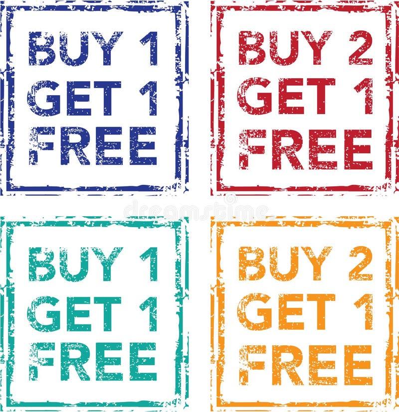 L'affare 1 ottiene 1 affare libero 2 del bollo ottiene 1 vettore libero illustrazione di stock