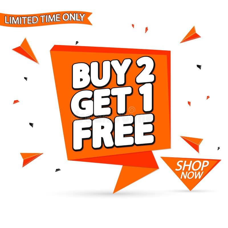 L'affare 2 ottiene 1 libero, modello di progettazione dell'insegna di vendita, etichetta del fumetto di sconto, illustrazione di  illustrazione vettoriale