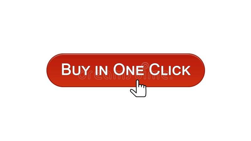 L'affare in un bottone dell'interfaccia di web di clic ha cliccato con il mouse, rosso di vino, comperante illustrazione vettoriale