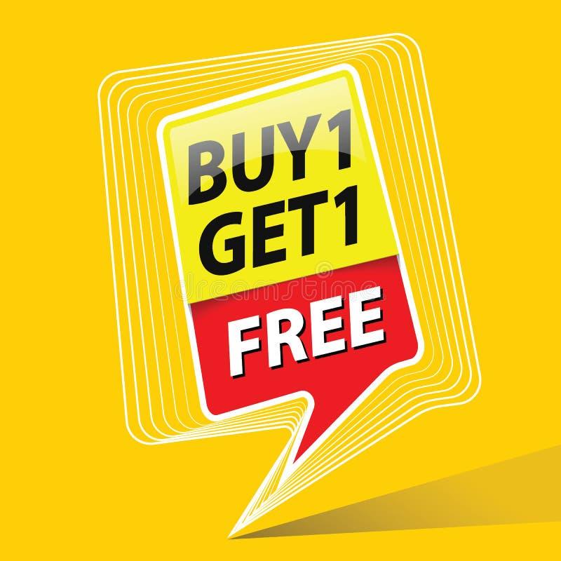 L'affare uno ottiene l'illustrazione libera di vettore di tema di promo di vendita illustrazione vettoriale