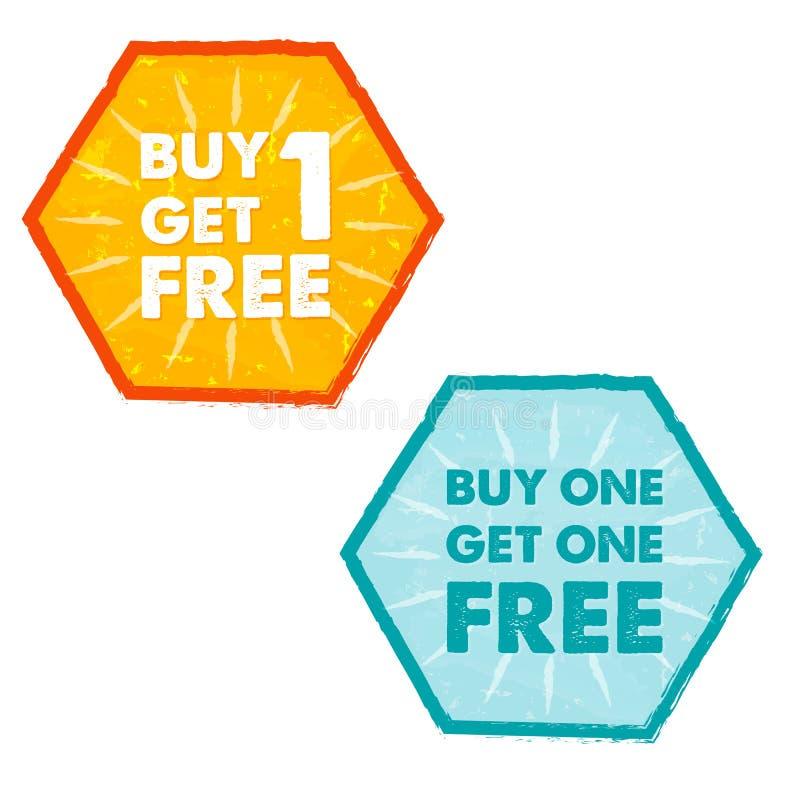 L'affare uno ottiene liberamente uno nelle etichette piane di esagoni di progettazione di lerciume illustrazione di stock