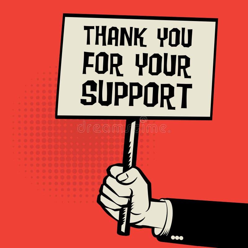 L'affiche à disposition, texte de concept d'affaires vous remercient de votre appui illustration de vecteur