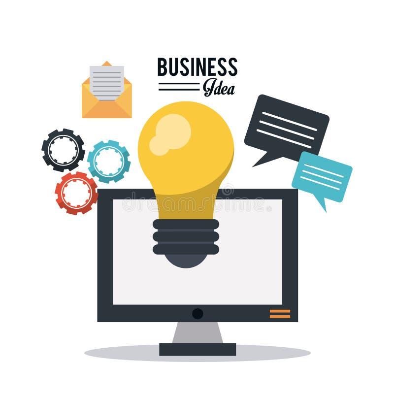 L'affiche colorée de l'idée d'affaires avec l'ordinateur de bureau et l'ampoule et le courrier et les pignons et la parole dialog illustration de vecteur