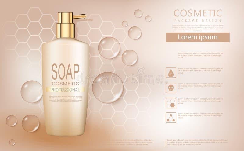 L'affiche cosmétique de produit, bouteille beige de savon liquide avec de l'eau se laisse tomber sur le fond lumineux illustration stock