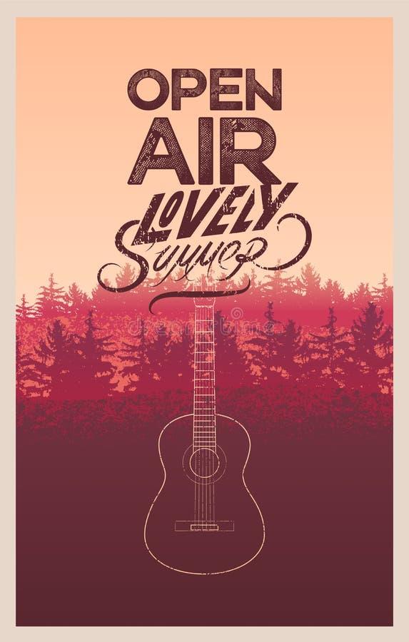 L'affiche d'air ouvert de festival d'été avec des sapins aménagent en parc Rétro illustration typographique grunge de vecteur illustration de vecteur