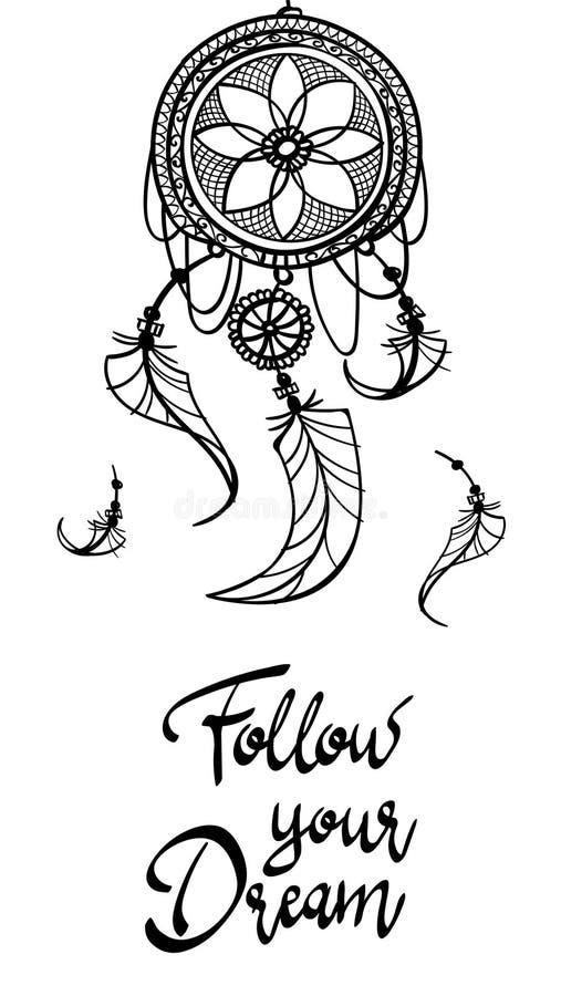 L'affiche de carte suivent votre rêve conception de mehndi de tatouage de dreamcatcher avec des plumes le contour tiré par la mai illustration de vecteur