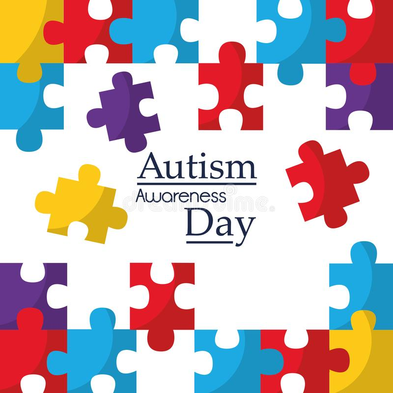L'affiche de conscience d'autisme avec le puzzle rapièce le symbole de solidarité et de soutien illustration stock