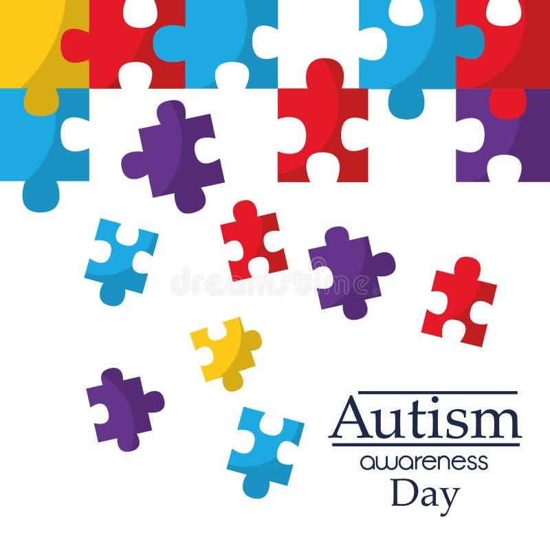 L'affiche de conscience d'autisme avec le puzzle rapièce le symbole de solidarité et de soutien illustration libre de droits