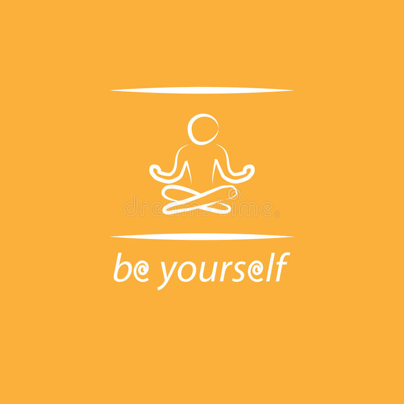 L'affiche de motivation avec le texte soit vous-même et silhouette de yoga photographie stock libre de droits