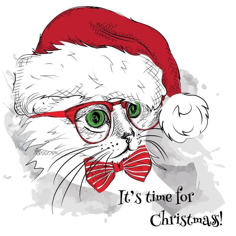 L'affiche de Noël avec le portrait de chat d'image dans le chapeau de Santa Illustration de vecteur illustration de vecteur