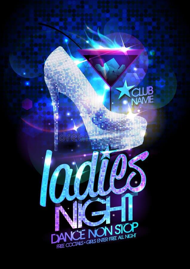 L'affiche de nuit de dames avec la haute a gîté les chaussures et le cocktail de cristaux de diamant illustration stock