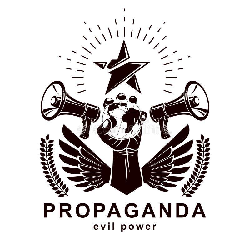 L'affiche de présentation composée avec des haut-parleurs, bras augmenté se tient illustration libre de droits