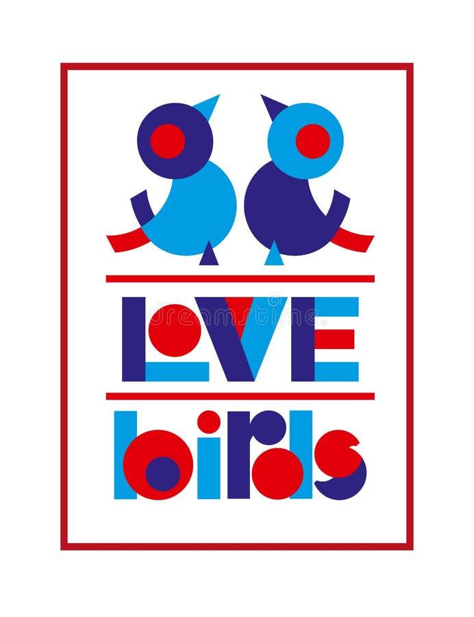L'affiche de typographie de Saint Valentin avec les oiseaux mignons d'amour et le texte pour la bannière conçoivent, carte de voe illustration stock
