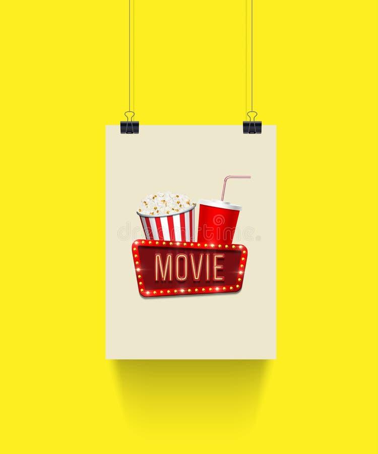 L'affiche de vecteur accrochant sur les trombones avec le panier de maïs de bruit, la tasse de kola et le film se connectent le f illustration de vecteur