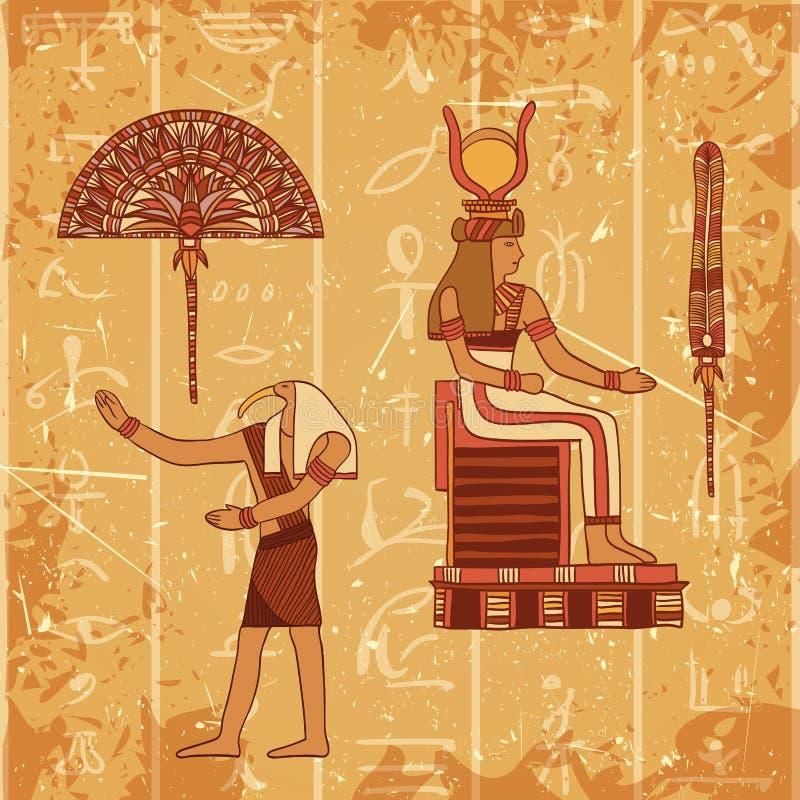 L'affiche de vintage a placé avec un dieu, le pharaon, la plume et la fan égyptiens sur le fond grunge avec des silhouettes de l' illustration libre de droits