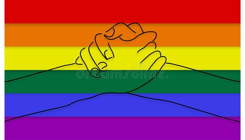 L'affiche heureuse de typographie de jour de valentines avec le texte manuscrit et les coeurs colorés d'arc-en-ciel pour LGBT aim image libre de droits