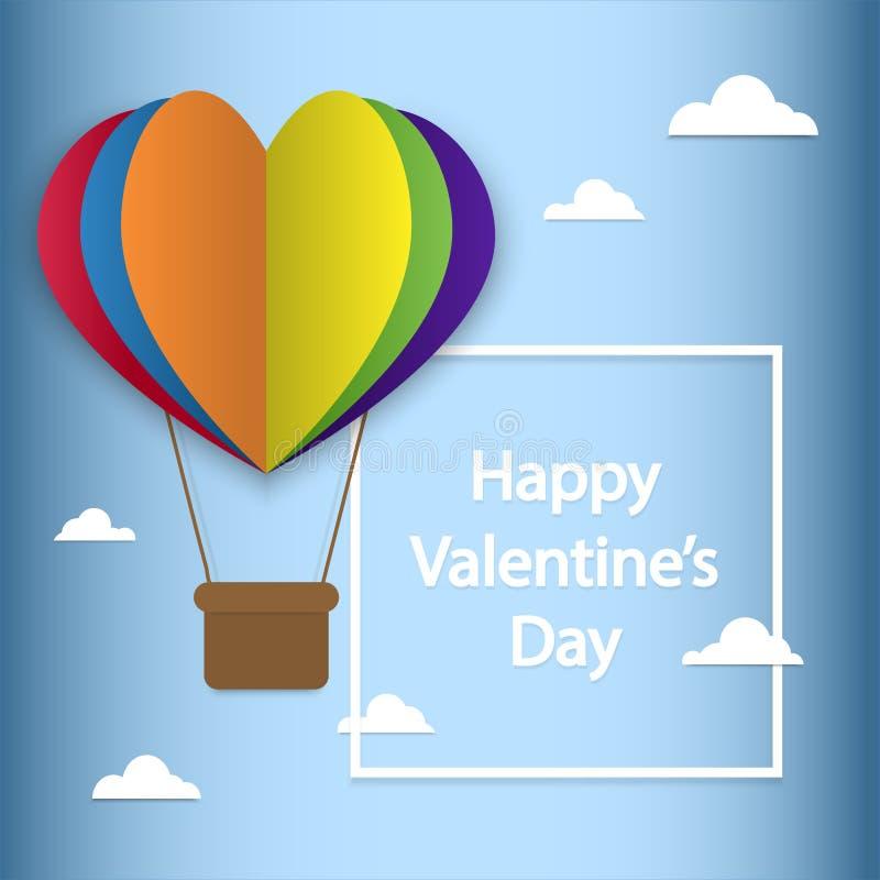 L'affiche heureuse de typographie de jour de valentines avec le texte manuscrit et les coeurs colorés d'arc-en-ciel pour LGBT aim photos stock