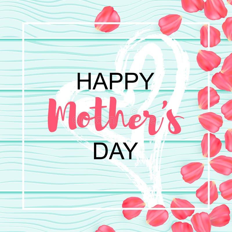 L'affiche heureuse du jour de mère avec le pétale s'est levée conception sur la texture en bois Fond et main en bois en bon état  illustration stock