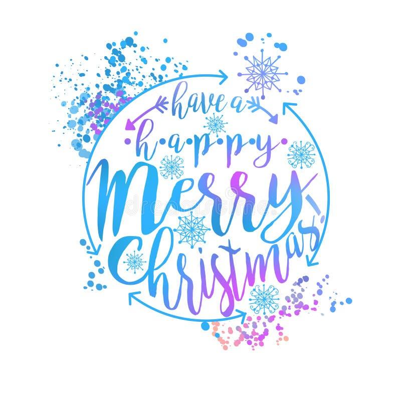 L'affiche ou la carte bleue et rose de typographie d'hiver avec ont une conception heureuse de Joyeux Noël illustration stock