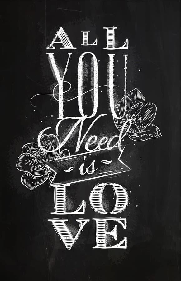 L'affiche toute que vous avez besoin est craie d'amour illustration stock