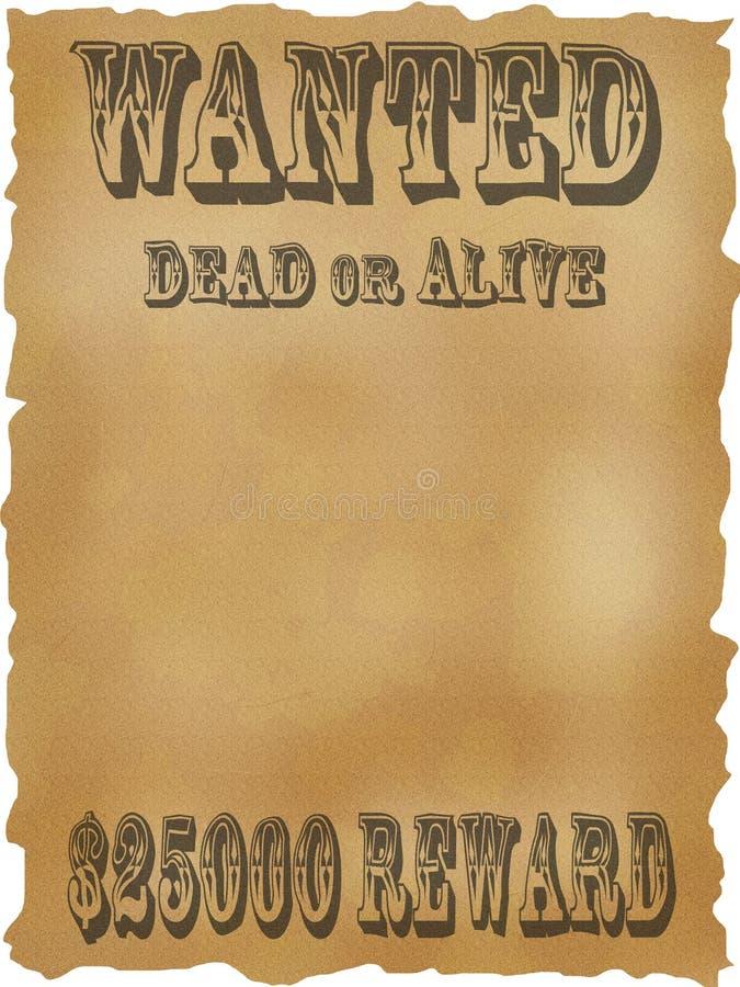 L'affiche a voulu des morts ou vivant. illustration stock