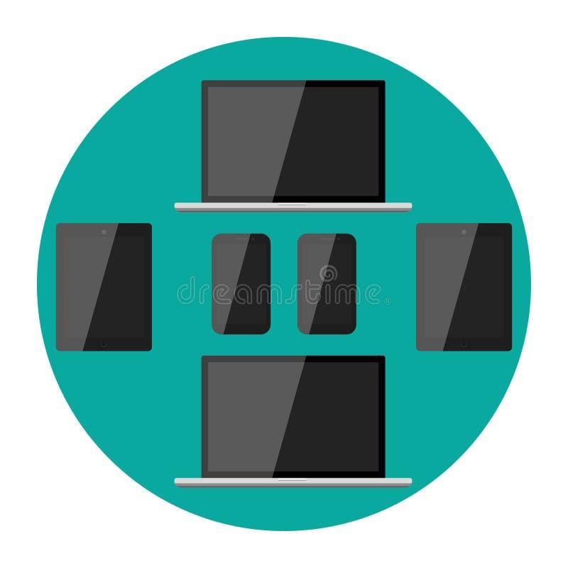 L'affissione a cristalli liquidi moderna realistica dello schermo in bianco ha condotto il telefono del cuscinetto del taccuino d royalty illustrazione gratis