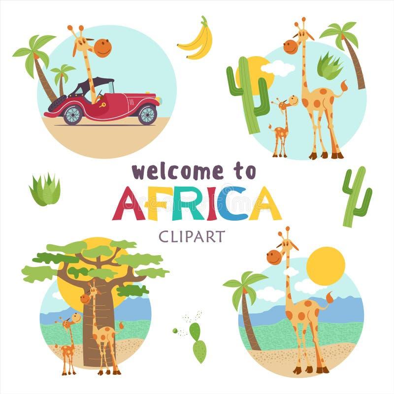 l'africa Animali e piante africani Insieme delle illustrazioni di vettore nello stile del fumetto illustrazione di stock