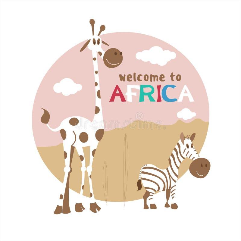 l'africa Illustrazione di vettore nello stile del fumetto Giraffa e zebra sveglie illustrazione vettoriale