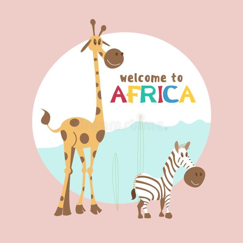 l'africa Illustrazione di vettore nello stile del fumetto Giraffa e zebra sveglie illustrazione di stock
