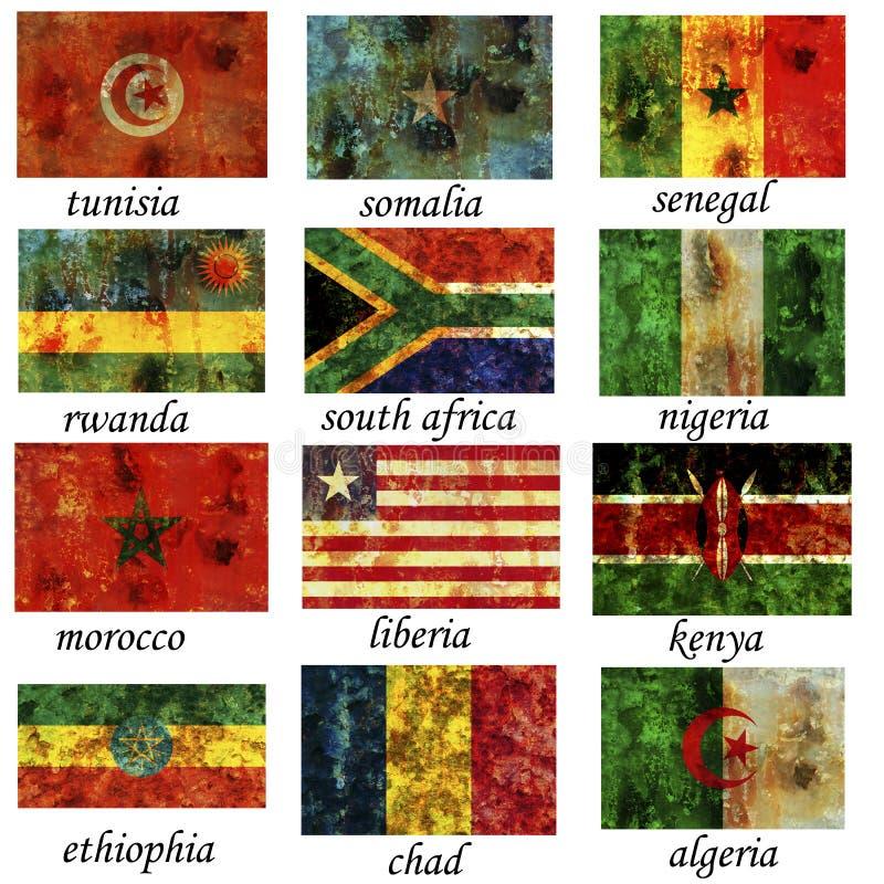 L'Africa la maggior parte di vecchie bandierine importanti immagini stock libere da diritti