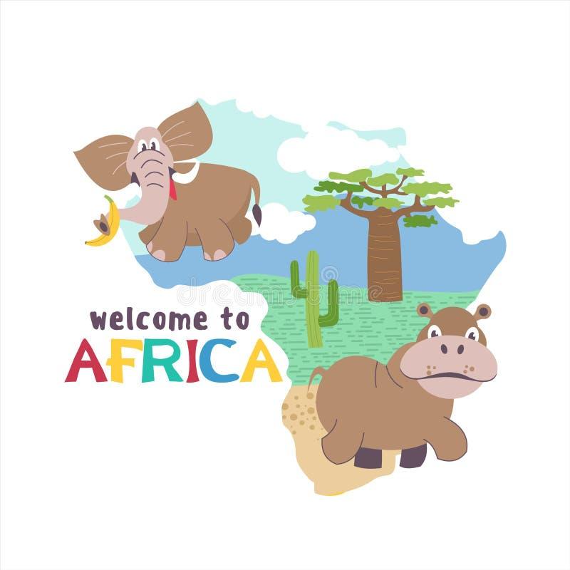 l'africa Mappe della siluetta di vettore del continente africano Animali africani illustrazione vettoriale