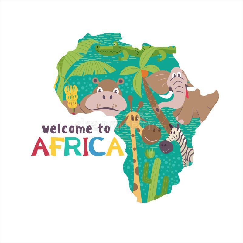 l'africa Mappe della siluetta di vettore del continente africano Animali africani royalty illustrazione gratis