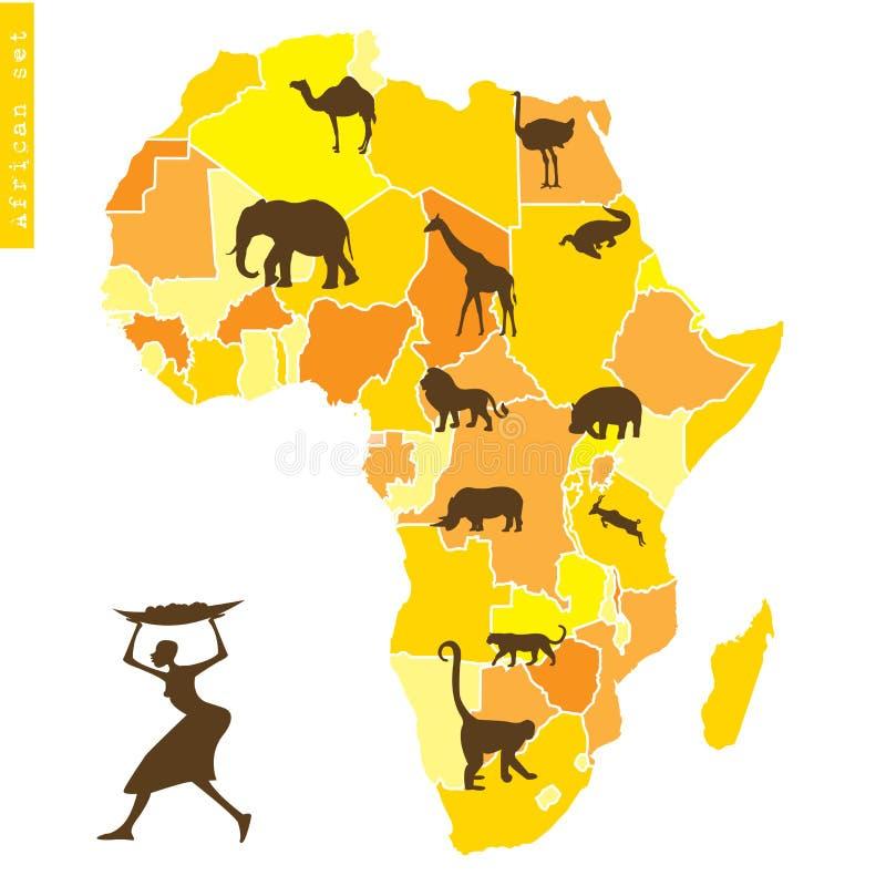 L Africain A Placé Avec La Carte Et Les Animaux Images stock