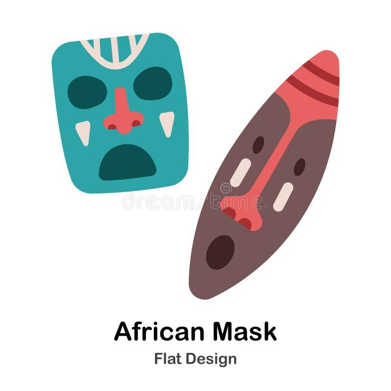 L'Africano maschera l'icona piana illustrazione vettoriale