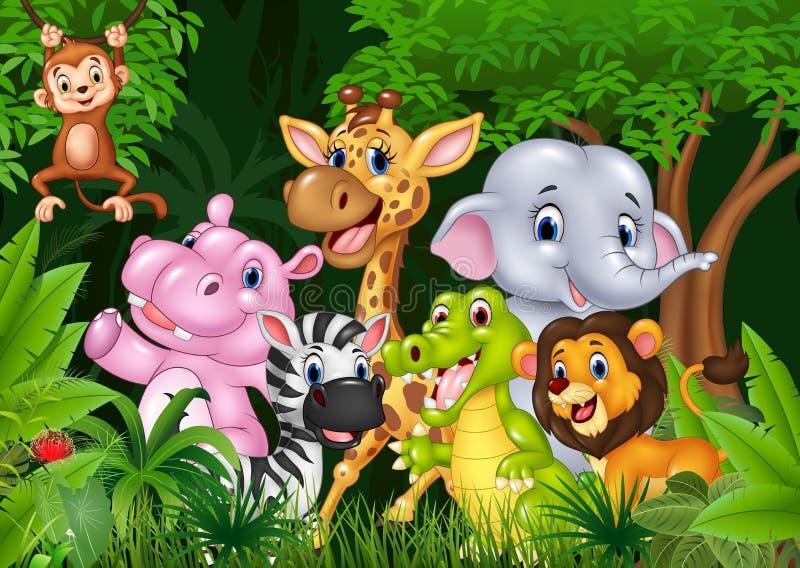 L'Afrique animale mignonne dans la jungle illustration stock