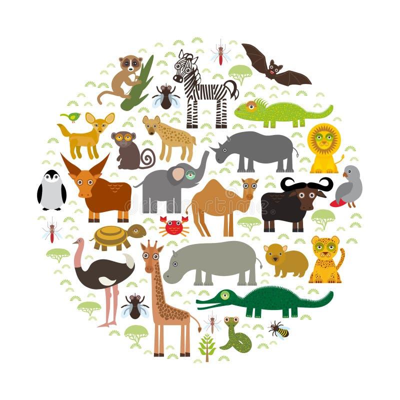 L'Afrique animale : parrot le lemu d'autruche de tsetse de moustique de chameau de serpent de Mamba d'éléphant de tortue de croco illustration libre de droits
