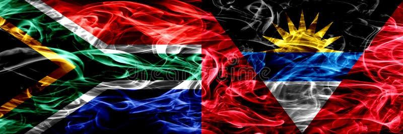 L'Afrique du Sud contre des drapeaux de fumée de l'Antigua-et-Barbuda a placé côte à côte Les drapeaux de concept et d'idée se mé illustration de vecteur